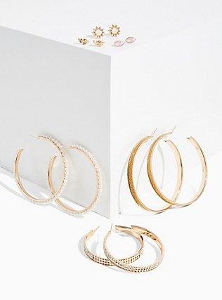 Faux Pearl Hoop & Stud Earrings Set - Set Of 6 , , hi-res