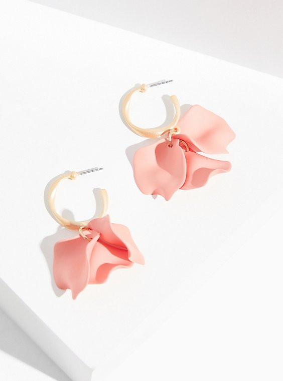 Peach Petal Hoop Earrings, , hi-res
