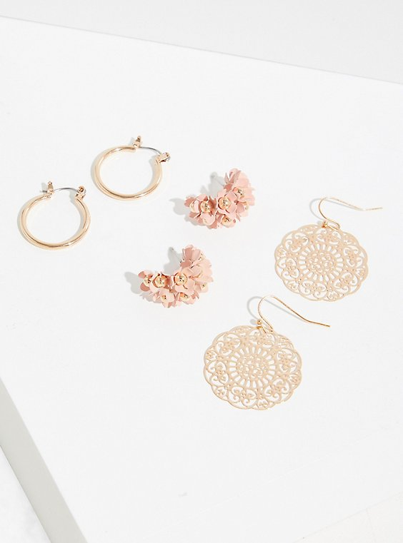 Plus Size Blush Pink Floral Earrings Set - Set Of 3, , hi-res