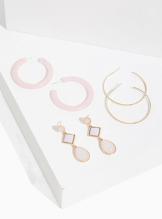 Plus Size Bluch Pink Hoop & Drop Earrings Set - Set Of 3, , hi-res