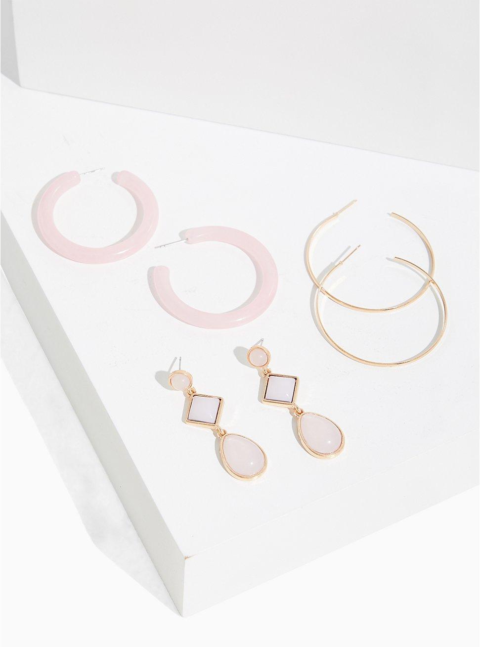 Bluch Pink Hoop & Drop Earrings Set - Set Of 3, , hi-res