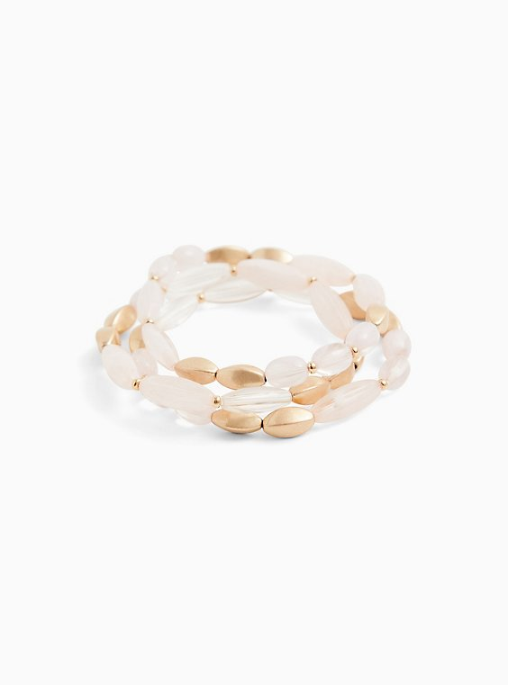 Gold-Tone & Light Pink Stretch Bracelet Set - Set of 3, , hi-res