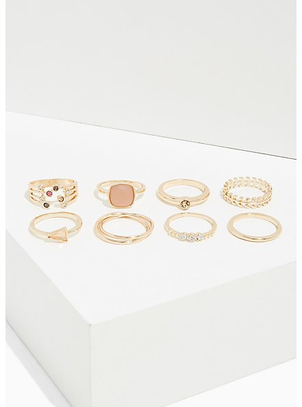 Plus Size Light Pink Faux Stone Ring Set - Set of 8, GOLD, alternate