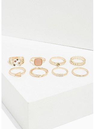Light Pink Faux Stone Ring Set - Set of 8, GOLD, alternate