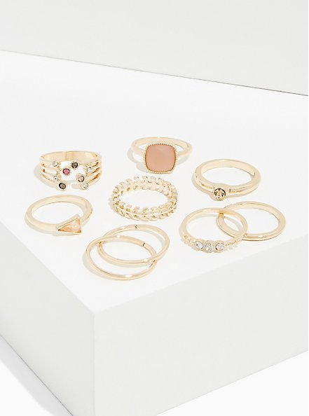 Plus Size Light Pink Faux Stone Ring Set - Set of 8, GOLD, hi-res