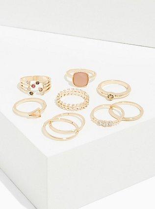 Light Pink Faux Stone Ring Set - Set of 8, GOLD, hi-res