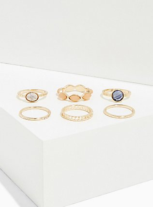 Blue Faux Stone Ring Set - Set of 6, GOLD, alternate