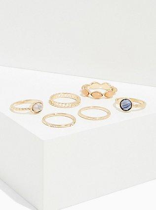 Blue Faux Stone Ring Set - Set of 6, GOLD, hi-res