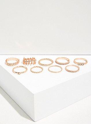 Rose Gold-Tone Rhinestone Leaf Ring Set - Set Of 9, ROSE GOLD, alternate