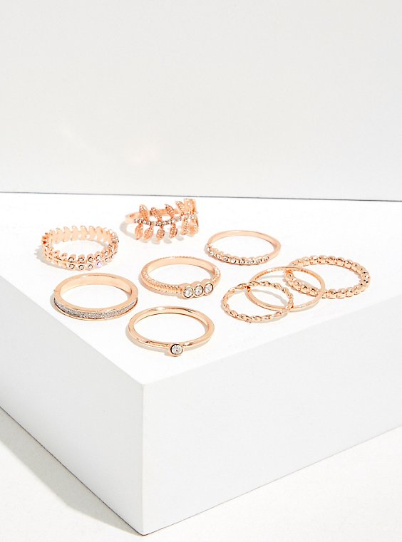 Plus Size Rose Gold-Tone Rhinestone Leaf Ring Set - Set Of 9, , hi-res