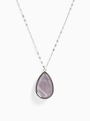 Silver-Tone Abalone Reversible Teardrop Pendant Necklace, , alternate