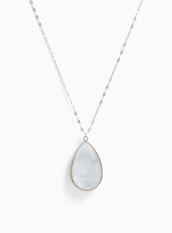 Plus Size Silver-Tone Abalone Reversible Teardrop Pendant Necklace, , hi-res