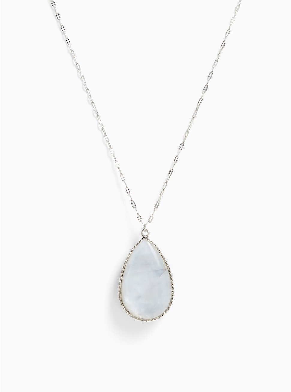 Silver-Tone Abalone Reversible Teardrop Pendant Necklace, , hi-res