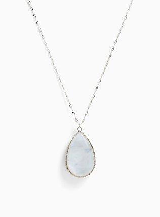 Silver-Tone Abalone Reversible Teardrop Pendant Necklace, , hi-res