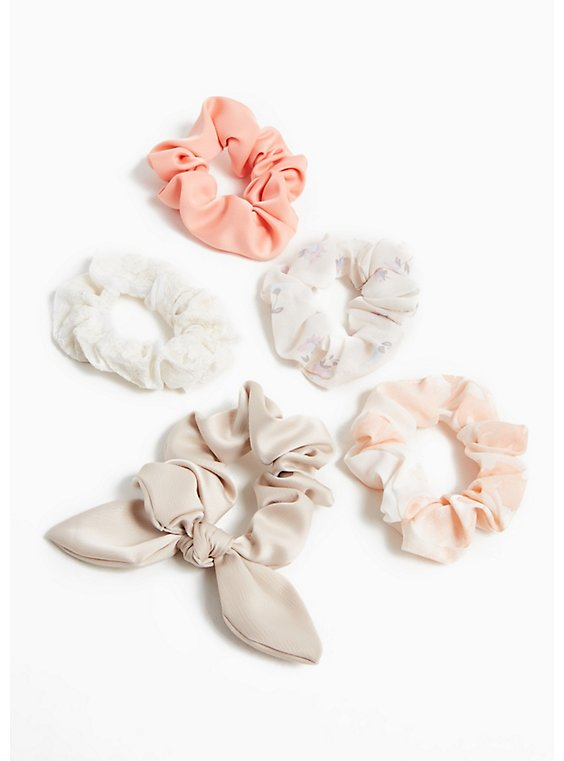 Tan Bow Hair Tie Pack - Pack of 5, , hi-res