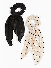 Ivory Polka Dot Scarf Hair Tie Pack - Pack of 2, , alternate