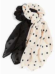 Ivory Polka Dot Scarf Hair Tie Pack - Pack of 2, , hi-res