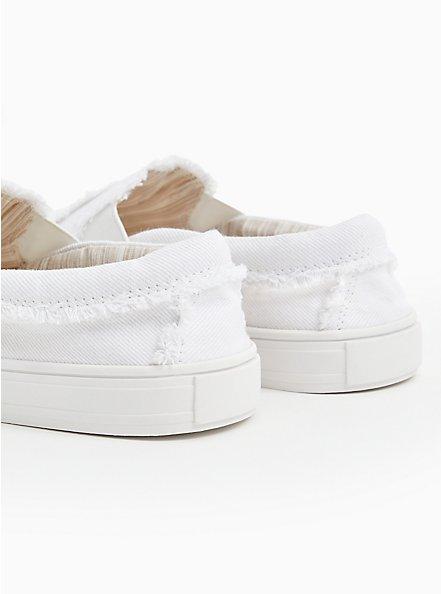 White Canvas Frayed Sneaker (WW), WHITE, alternate