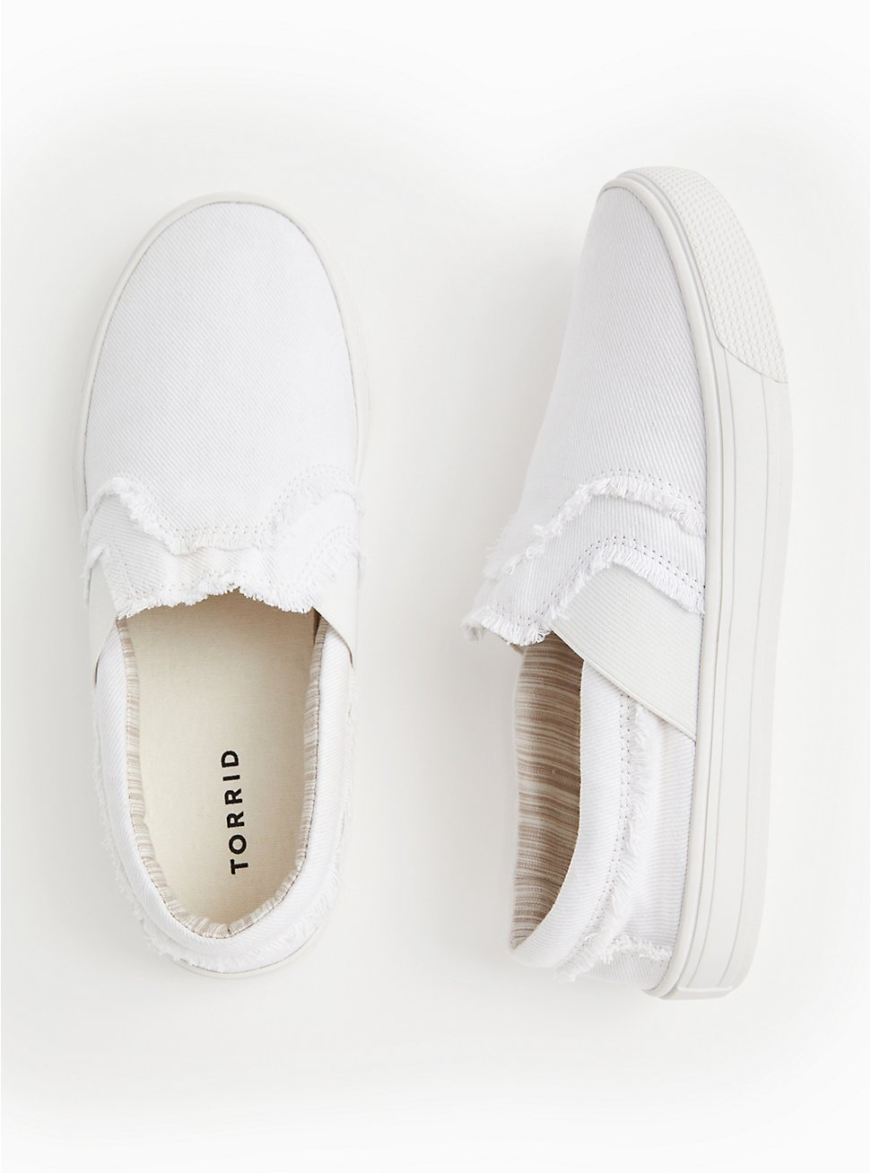 White Canvas Frayed Sneaker (WW), WHITE, hi-res