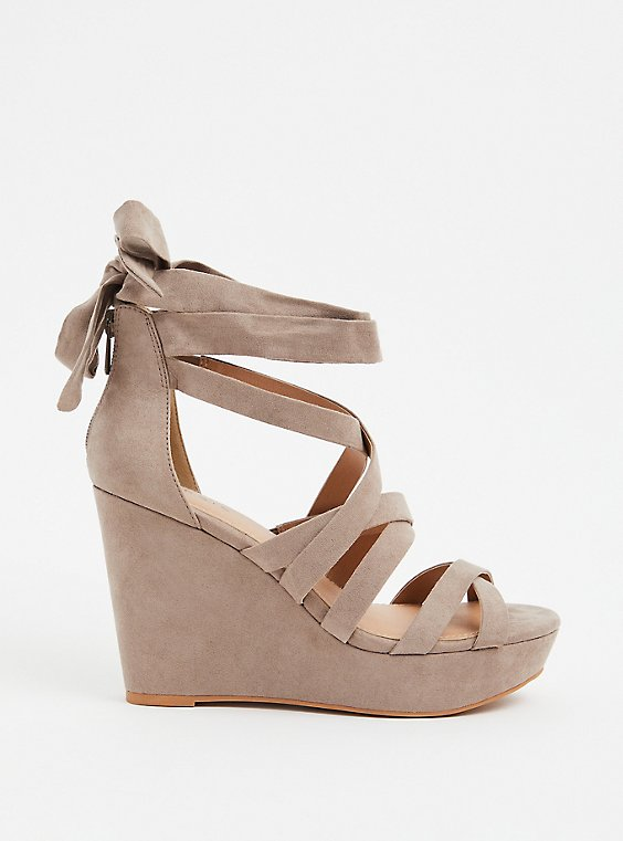 Plus Size Taupe Faux Suede Ankle Wrap Wedge (WW), , hi-res