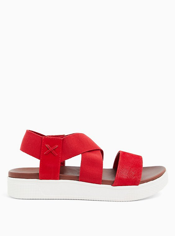 Red Faux Leather & Stretch Strap Sandal (WW), , hi-res