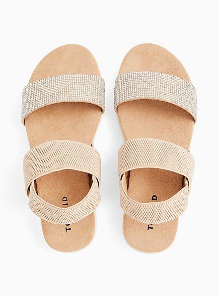 Plus Size Nude Faux Suede & Rhinestone Stretch Ankle Strap Sandal (WW), BLACK, alternate