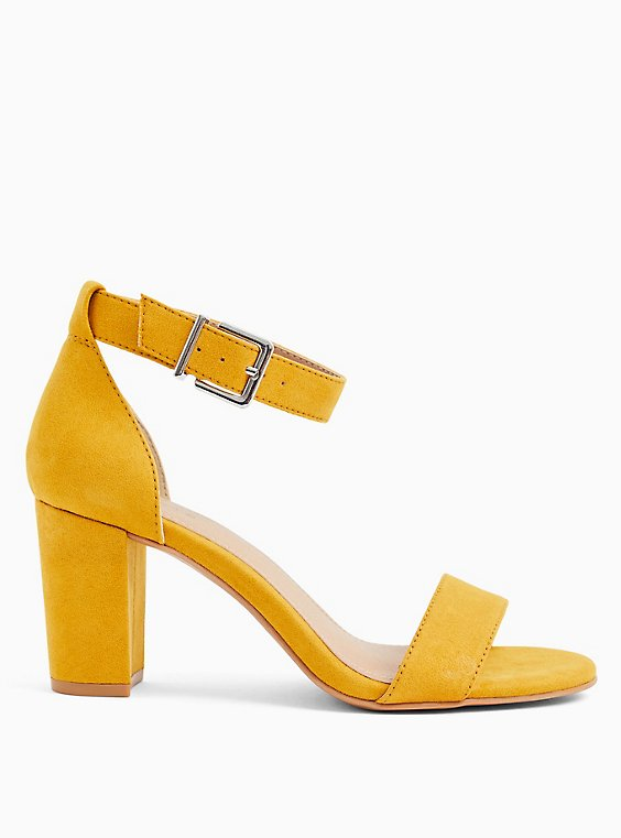 Mustard Yellow Faux Suede Ankle Strap Tapered Heel (WW), , hi-res
