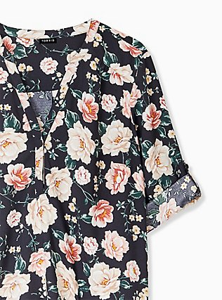 Harper - Black Floral Crepe Back Satin Pullover Blouse  , MULTI, alternate