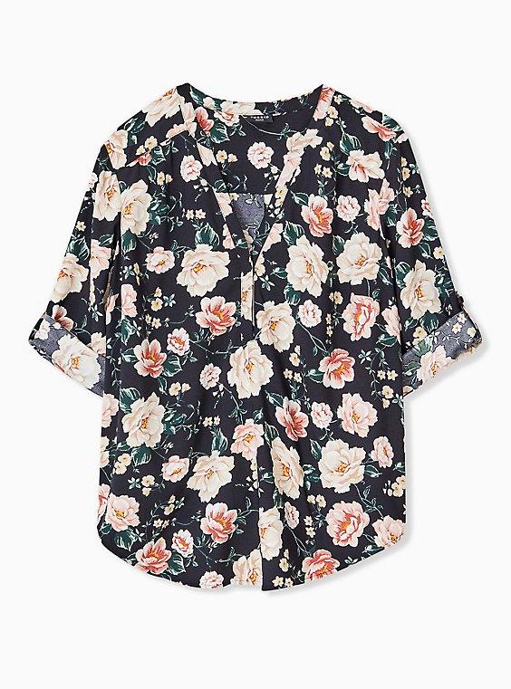 Harper - Black Floral Crepe Back Satin Pullover Blouse  , , hi-res