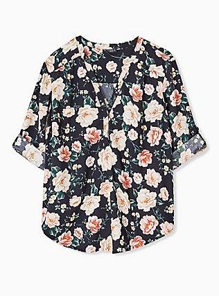 Harper - Black Floral Crepe Back Satin Pullover Blouse  , MULTI, hi-res