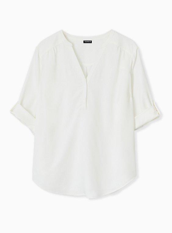Plus Size Harper - Ivory Crepe Back Satin Pullover Blouse , , hi-res