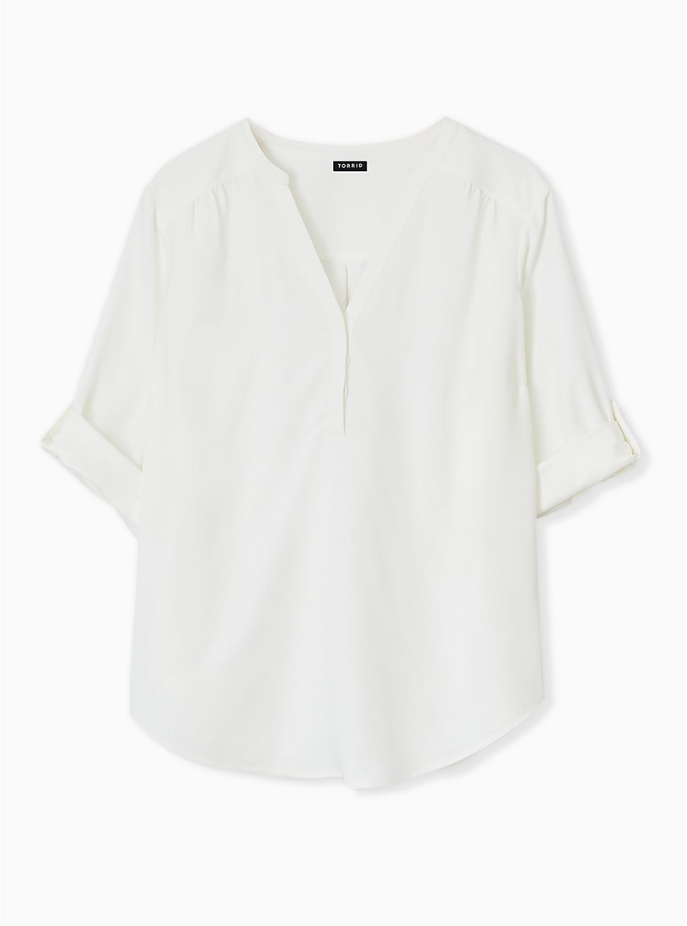 Harper - Ivory Crepe Back Satin Pullover Blouse , CLOUD DANCER, hi-res