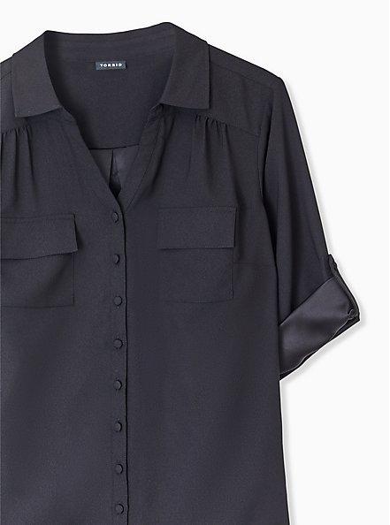 Plus Size Madison - Black Crepe Back Satin Button Front Blouse , DEEP BLACK, alternate
