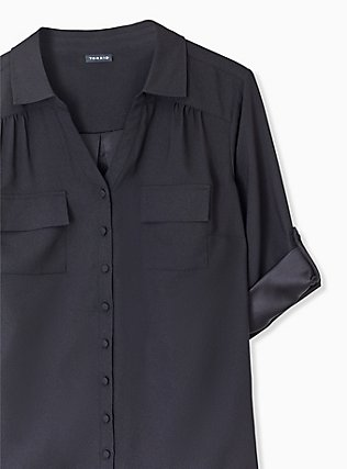 Plus Size Madison - Black Crepe Back Satin Button Front Blouse , DEEP BLACK, alternate