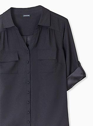 Madison - Black Crepe Back Satin Button Front Blouse , DEEP BLACK, alternate