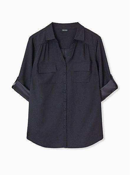 Plus Size Madison - Black Crepe Back Satin Button Front Blouse , DEEP BLACK, hi-res