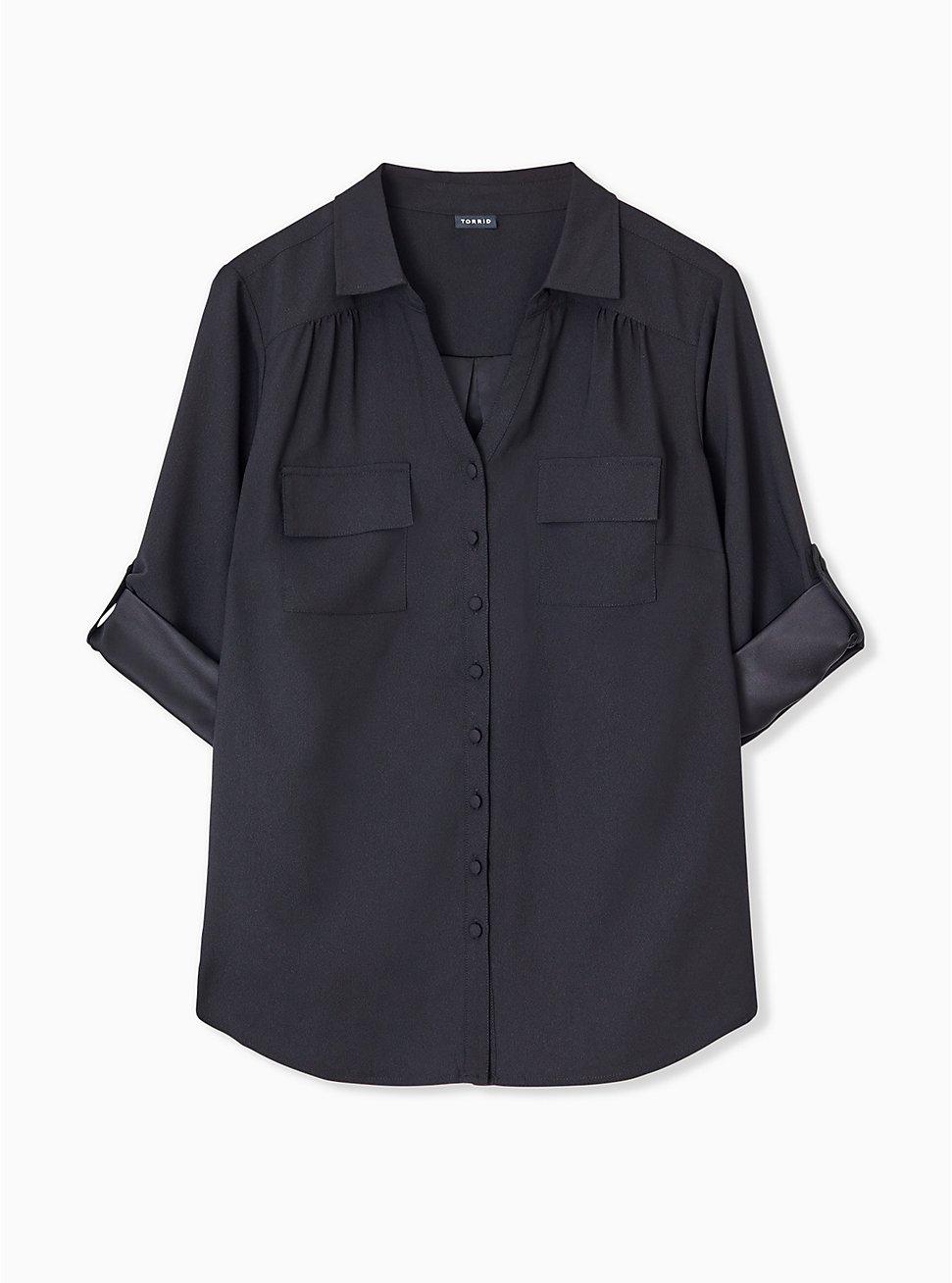 Madison - Black Crepe Back Satin Button Front Blouse , DEEP BLACK, hi-res