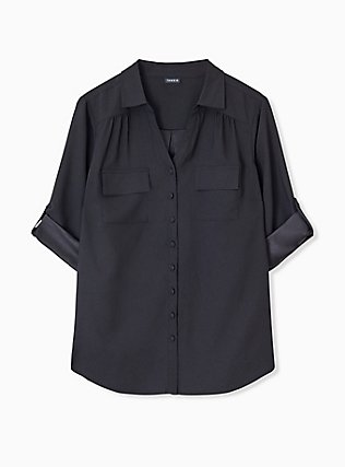 Plus Size Madison - Black Crepe Back Satin Button Front Blouse , DEEP BLACK, hi-res