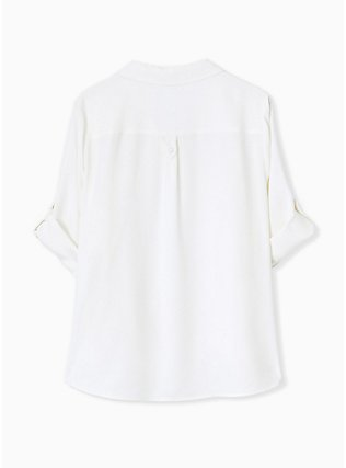 Madison - White Crepe Back Satin Button Front Blouse , CLOUD DANCER, alternate