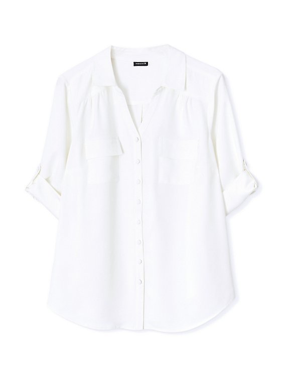 Madison - White Crepe Back Satin Button Front Blouse , , hi-res