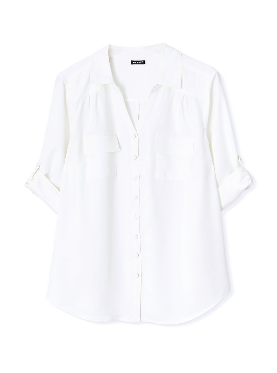Madison - White Crepe Back Satin Button Front Blouse , CLOUD DANCER, hi-res