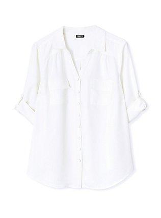 Madison - White Crepe Back Satin Button Front Blouse , CLOUD DANCER, hi-res
