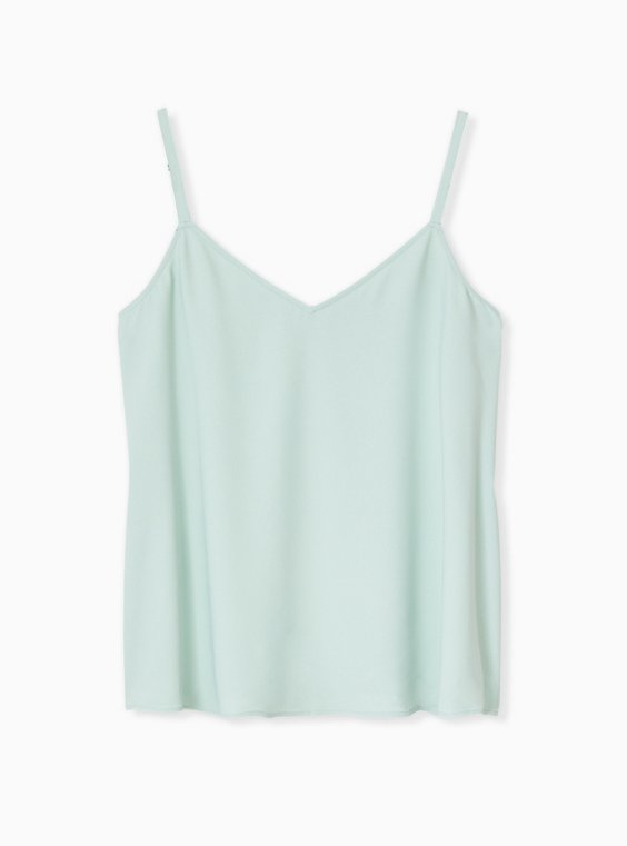Plus Size Sophie - Mint Blue Crepe Back Satin Swing Cami , , hi-res