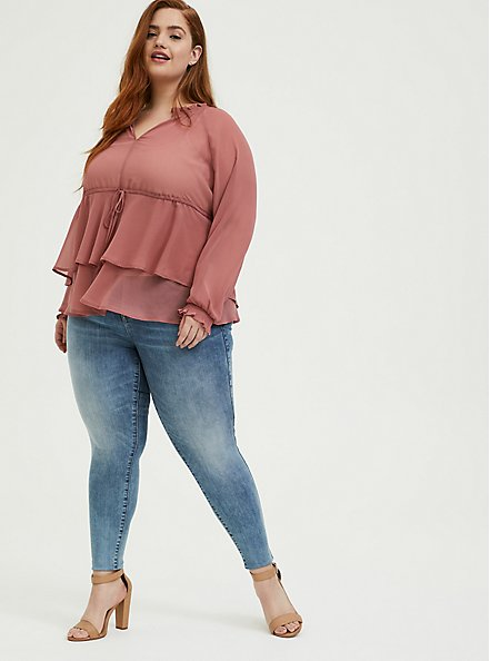 Dusty Rose Crinkle Chiffon Drawstring Double Layer Blouse, WITHERED ROSE PINK, alternate