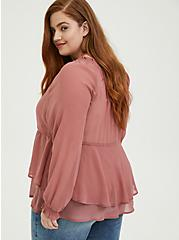 Plus Size Dusty Rose Crinkle Chiffon Drawstring Double Layer Blouse, WITHERED ROSE PINK, alternate
