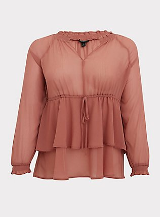 Dusty Rose Crinkle Chiffon Drawstring Double Layer Blouse, WITHERED ROSE PINK, flat
