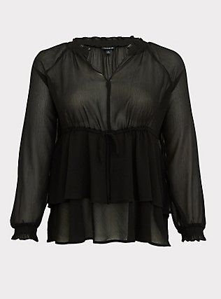 Black Crinkle Chiffon Drawstring Double Layer Blouse, DEEP BLACK, flat