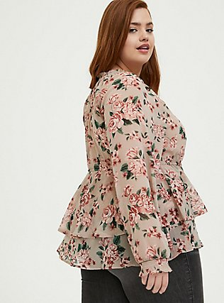 Taupe Floral Crinkle Chiffon Drawstring Double Layer Blouse, MULTI, alternate