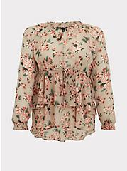 Plus Size Taupe Floral Crinkle Chiffon Drawstring Double Layer Blouse, MULTI, hi-res