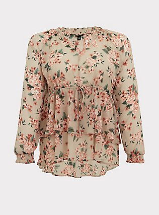 Taupe Floral Crinkle Chiffon Drawstring Double Layer Blouse, MULTI, flat